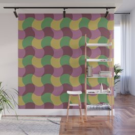 Mid Century Modern Wavy Stripe Pattern 324 Pink Green Yellow and Brown Wall Mural