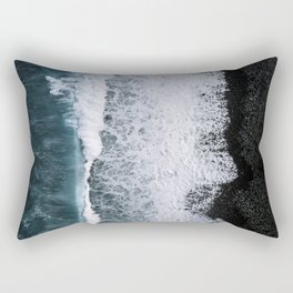 Aerial of a Black Sand Beach with Waves - Oceanscape Rectangular Pillow