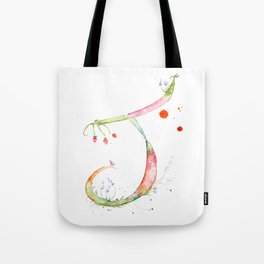 Letter J watercolor - Watercolor Monogram - Watercolor typography - Floral lettering Tote Bag