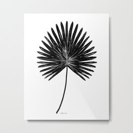 Fan Palm, Graphic Monochromatic Botanical Leaf Art Print, Abstract Charcoal Black and White Tropical Floral Priece Metal Print