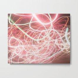 Neon Pink Light Streaks Metal Print