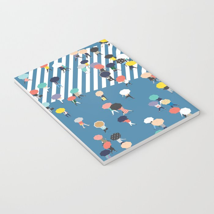 Crossing The Street On a Rainy Day - Blue Notebook