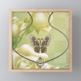 Decorative butterflies with roses Framed Mini Art Print