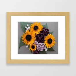 Sunflowers Roses Paper Quilled Flowers Framed Art Print