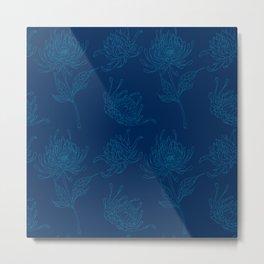 Ocean Blue Dahlia Flowers Metal Print