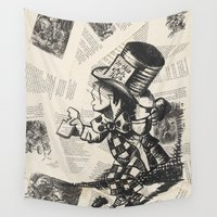 mad hatter Wall Tapestries featuring Mad Hatter by Jordan Renae Arp