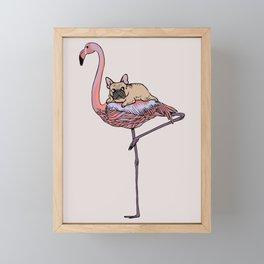 Flamingo and French Bulldog Framed Mini Art Print