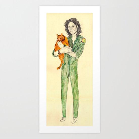 Ellen Ripley with Jones   Alien Art Print