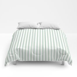 Mattress Ticking Narrow Striped Pattern in Moss Green and White Comforters