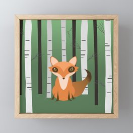 A fox in the woods Framed Mini Art Print