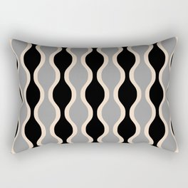 Classic Retro Ogee Pattern 937 Black and Gray Rectangular Pillow