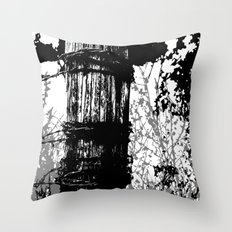 Barbed Wire Fence Post B/W Throw Pillow