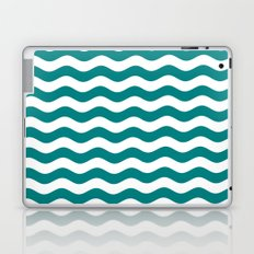 Wavy Stripes (Teal/White) Laptop & iPad Skin