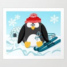 Penguin in January month series Art Print