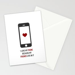 I love my phone Stationery Cards