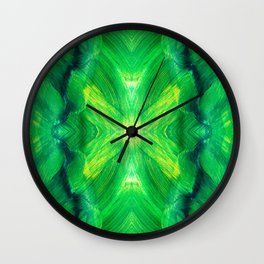 Brush play in hues of green 13 Wall Clock