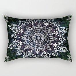 Rising Soul Mandala Design White Blue Green Rectangular Pillow