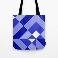 Blue and White Geometric Abstract Tote Bag