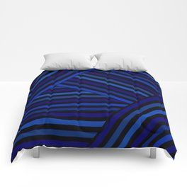 Dark blue striped patchwork Comforters