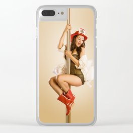 """Four-Alarm Flirt"" - The Playful Pinup - Firefighter Girl Pin-up by Maxwell H. Johnson Clear iPhone Case"