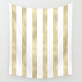 Simply luxury Gold small stripes on clear white - vertical pattern Wall Tapestry