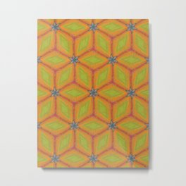 Green and Gold Tile Pattern Repeating Metal Print