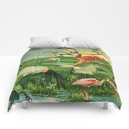 Amazonian birds by Göldi & Emil August Brazil Colorful Tropical Birds Illustration Flamingos Comforters