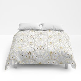 marble and gold art deco scales pattern Comforters