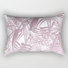 Vintage Pink Tropical Palm Leaf Pattern Rectangular Pillow