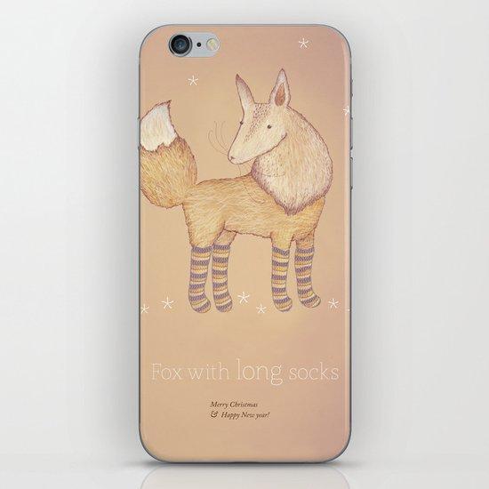 Christmas creatures- Fox with long socks iPhone & iPod Skin