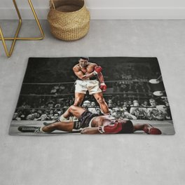 Mama Said I'm Gonna Knock You Out - Ali Knocks out Liston B&W over Color Painting Rug