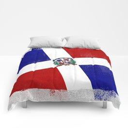 Dominican Republic Distressed Halftone Denim Flag Comforters