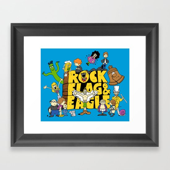 Rock, Flag & Eagle Framed Art Print