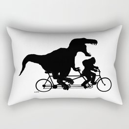 Gone Squatchin cycling with T-rex Rectangular Pillow