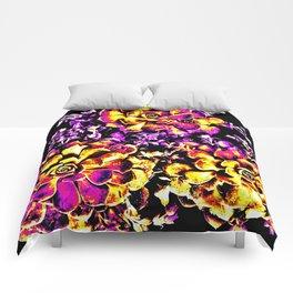 Purple Yellow Flower Plant, Pop Art Comforters