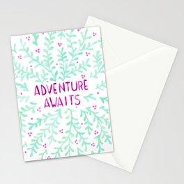 Adventure Awaits - Mint & Purple Stationery Cards