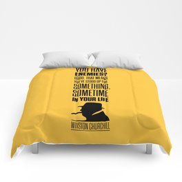 Lab No. 4 - Winston Churchill Inspirational Quotes Poster Comforters