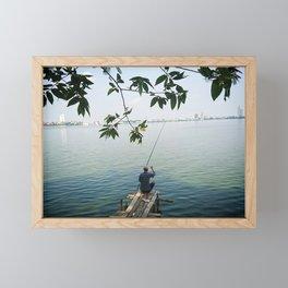 West Lake Fisherman III Framed Mini Art Print