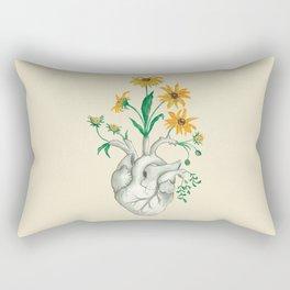 Floral Heart: Sunflower Human Anatomy Rectangular Pillow