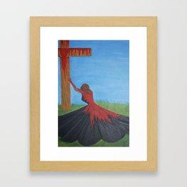 His Daughter in the Red Dress- 1 John 1:7 Framed Art Print