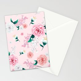 Light Pink Floral Peony and Blossoms Print Stationery Cards