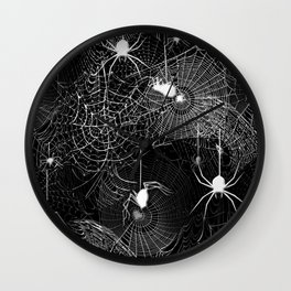 Black and White Spider Webs Pattern Wall Clock