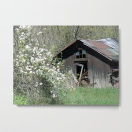 Old Building with Wildflowers Metal Print