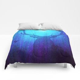 Blue Purple Space Deer Comforters