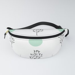 Back branches & blue-green circles pattern Fanny Pack