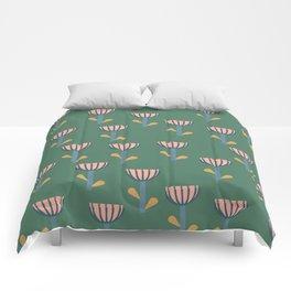 Folksy Floral Pattern in Green Comforters