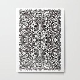 Aztec Tribal Mystic Black and White Art Mandala Metal Print