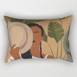 Boho Female Tropical Rectangular Pillow