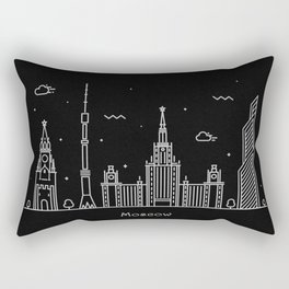 Moscow Minimal Nightscape / Skyline Drawing Rectangular Pillow