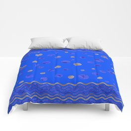 Waves and Dots - Royal Blue Comforters